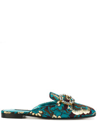 Chinelas de cuero en verde azulado de Dolce & Gabbana