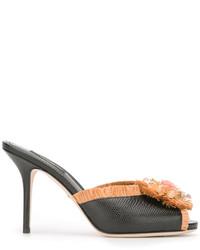 Chinelas de cuero negras de Dolce & Gabbana
