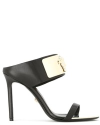 Chinelas de cuero negras de Versace