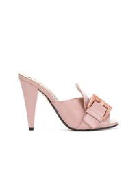 Chinelas de cuero rosadas de N°21