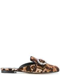 Chinelas estampadas en marrón oscuro de Dolce & Gabbana