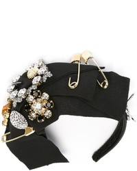 Cinta para la cabeza con adornos negra de Dolce & Gabbana
