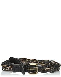 Cinturón de cuero en negro y dorado de elise m.