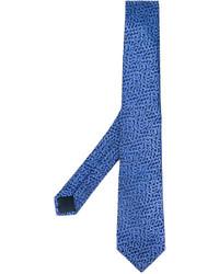 Corbata con estampado geométrico azul de Lanvin