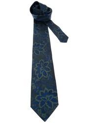 Corbata con print de flores azul marino