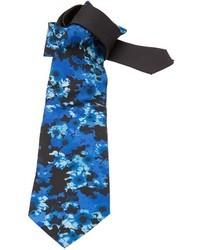 Corbata con print de flores azul marino de Versace