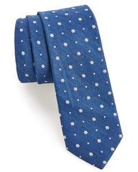 Corbata con print de flores azul