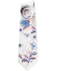 Corbata con print de flores blanca