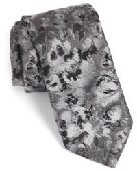 Corbata con print de flores en gris oscuro