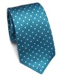 Corbata con print de flores en verde azulado