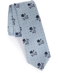 Corbata con print de flores gris
