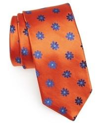 Corbata con print de flores naranja
