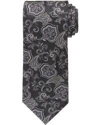 Corbata con print de flores negra