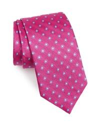 Corbata con print de flores rosa