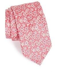Corbata con print de flores rosada
