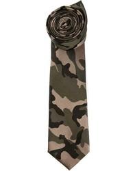 Corbata de camuflaje verde oscuro de Valentino