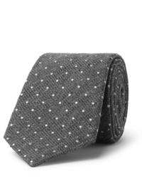 Corbata de lana a lunares gris