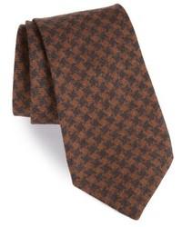 Corbata de lana de pata de gallo marrón