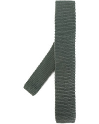 Corbata de lana de punto verde oscuro de Eleventy