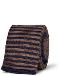 Corbata de lana de rayas horizontales en marrón oscuro