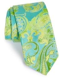 Corbata de paisley en azul marino y verde