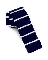 Corbata de punto en azul marino y blanco