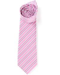Corbata de rayas horizontales rosada de Gucci