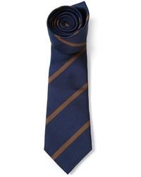 Corbata de rayas verticales azul marino de Brunello Cucinelli