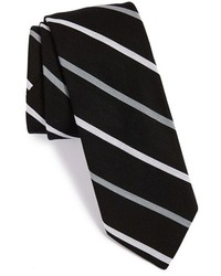 Corbata de rayas verticales en negro y blanco