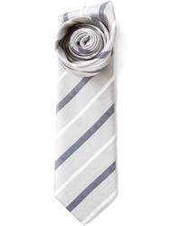 Corbata de rayas verticales gris de Brioni