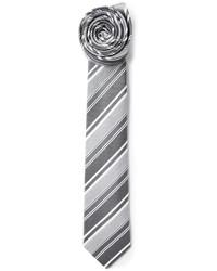Corbata de rayas verticales gris de Jil Sander