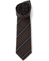 Corbata de Rayas Verticales Marrón Oscuro de Brunello Cucinelli