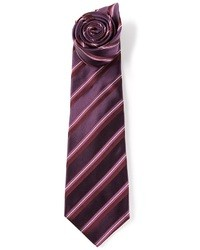 Corbata de rayas verticales morado oscuro de Kiton