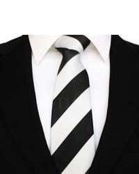 Corbata de Rayas Verticales Negra y Blanca de DQT