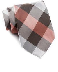 Corbata de seda a cuadros marrón