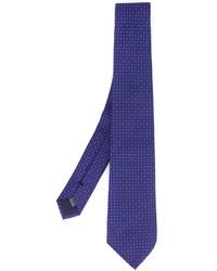Corbata de seda a lunares azul marino de fe-fe