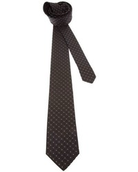 Corbata de seda a lunares negra de Saint Laurent