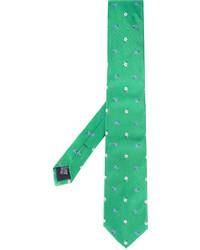 Corbata de seda bordada verde de fe-fe