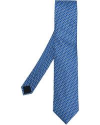 Corbata de seda con estampado geométrico azul de Lanvin