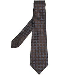 Corbata de seda con estampado geométrico en marrón oscuro de Kiton