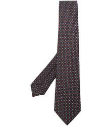 Corbata de seda con estampado geométrico marrón de Kiton