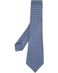 Corbata de seda con print de flores azul marino de Kiton