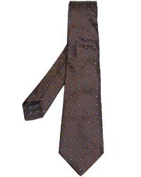 Corbata de Seda con print de flores Marrón de Kiton