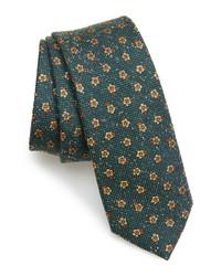 Corbata de seda con print de flores verde oscuro