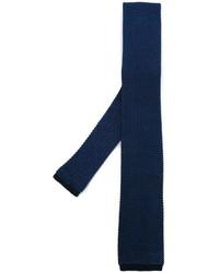 Corbata de seda de punto azul marino de Eleventy