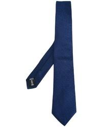 Corbata de seda de rayas horizontales azul marino de Armani Collezioni