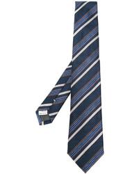 Corbata de Seda de Rayas Horizontales Azul Marino de Canali