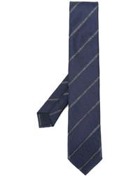 Corbata de seda de rayas horizontales azul marino de Corneliani