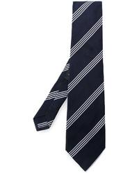Corbata de seda de rayas horizontales azul marino de Etro