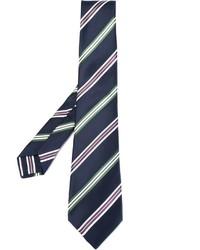Corbata de seda de rayas horizontales azul marino de Kiton